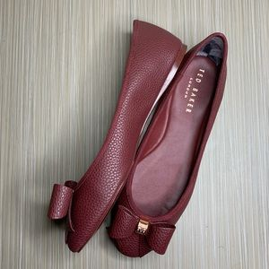 Ted Baker Maroon Sually Bow Detail Ballet Pumps